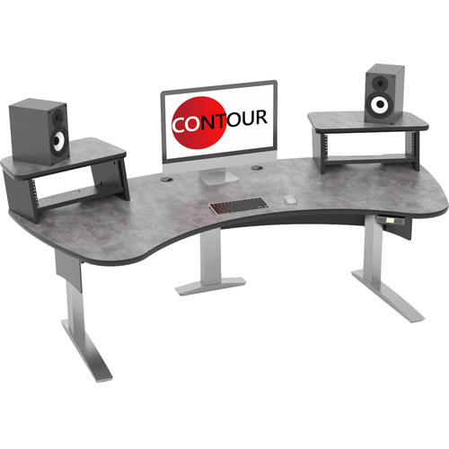Omnirax Contour Series Motorized Adjustable Height Workstation (7' Wide, Pewter Brush)