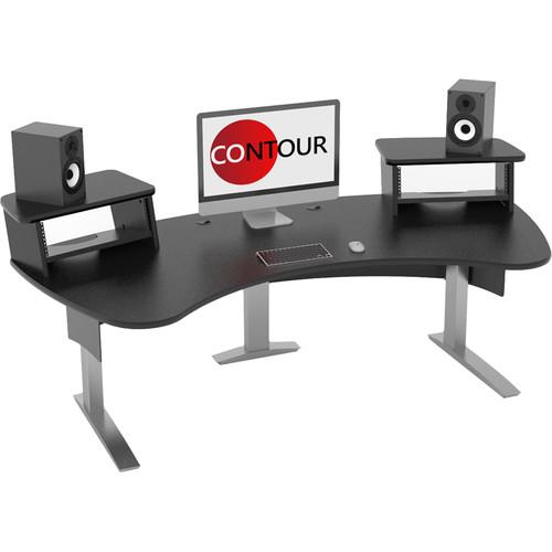 Omnirax Contour Series Fixed Height Workstation (7' Wide, Black)