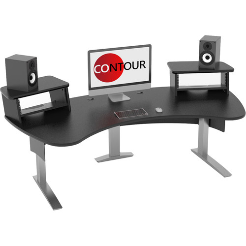 Omnirax Contour Series Fixed Height Workstation (7' Wide, Black)