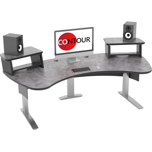 Omnirax Contour Series Fixed Height Workstation (7' Wide, Pewter Brush)