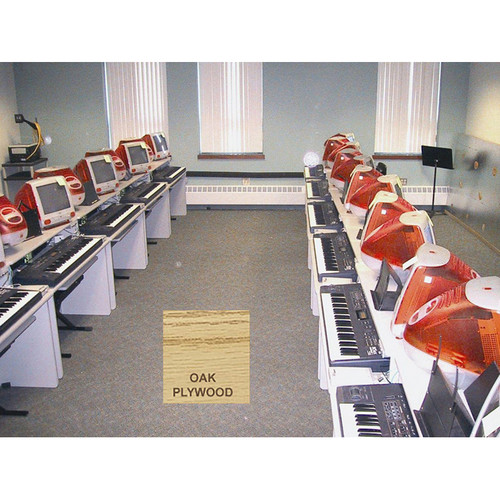 Omnirax Compact Classroom Keyboard Desk for 2 Students Facing Each Other (Oak Plywood)