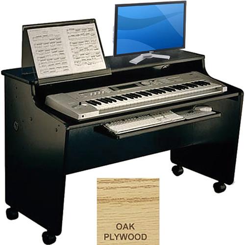 Omnirax Compact Classroom Workstation with Computer Keyboard / Mouse Shelf (Oak Plywood)
