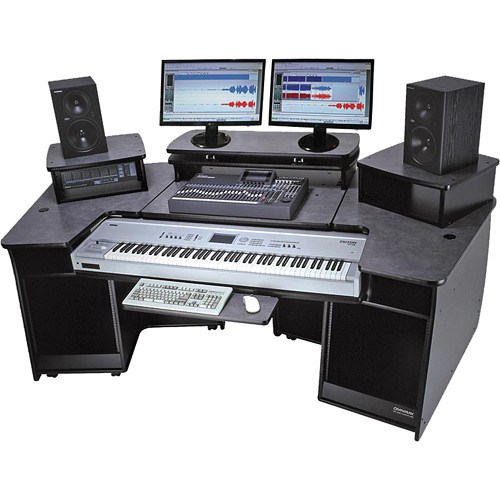 Omnirax F2 Keyboard Composing Mixing Workstation (Black Melamine)