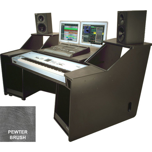 Omnirax FORTE Keyboard Composing / Mixing Workstation (Pewter Brush Formica)