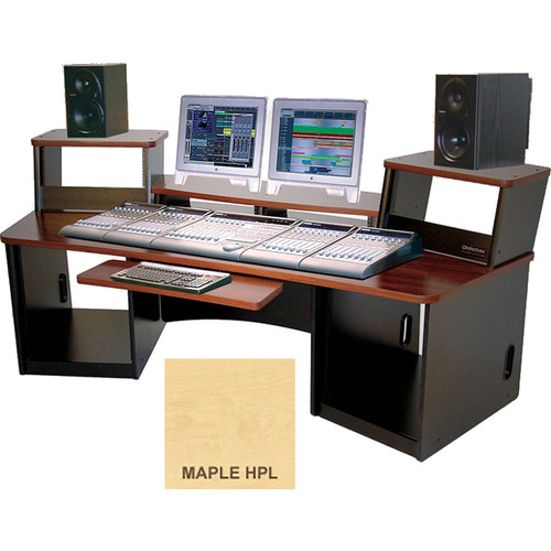 Omnirax Force 36 Multi-Purpose Workstation with Split Monitor Bridge (Maple Formica)