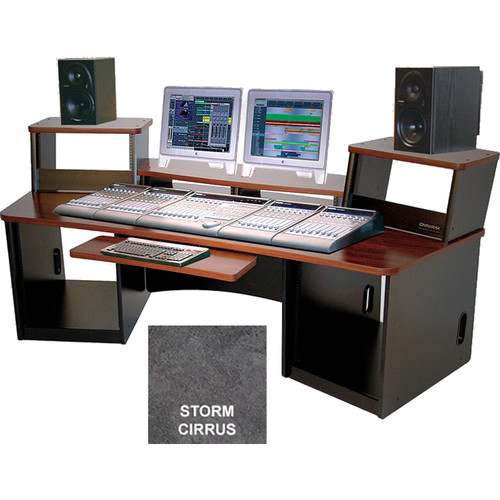 Omnirax Force 36 Multi-Purpose Workstation with Split Monitor Bridge (Storm Cirrus Formica)