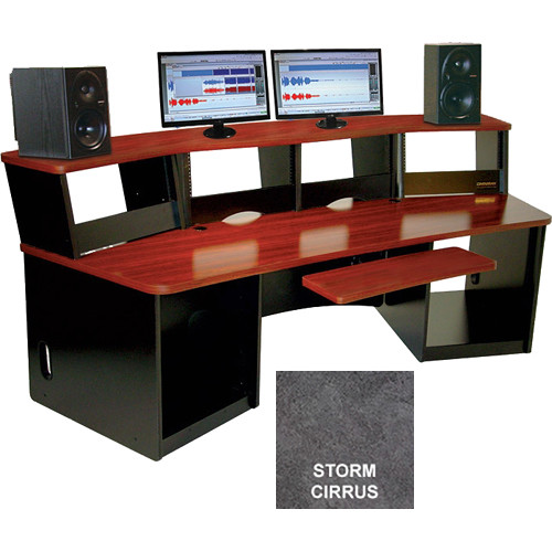 Omnirax Force 40 Multi-Purpose Workstation with One-Piece Monitor Bridge (Storm Cirrus Formica)