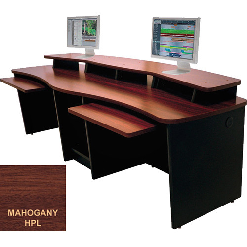 Omnirax GEMINI Dual Position Multi-Purpose Digital Editing / Audio / Video Workstation (Mahogany Formica)