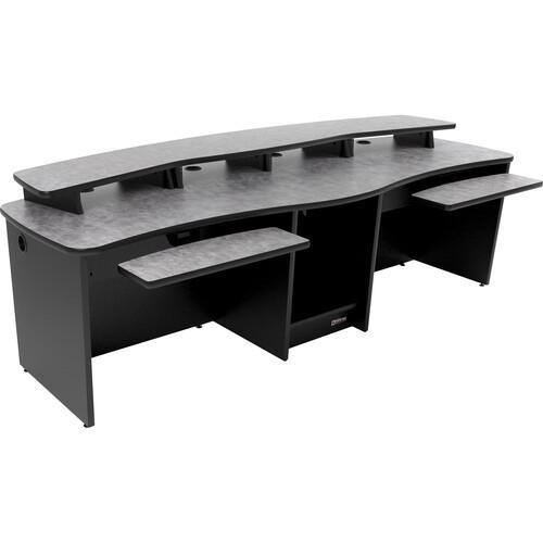 Omnirax GEMINI Dual Position Multi-Purpose Digital Editing / Audio / Video Workstation (Pewter Brush Formica)