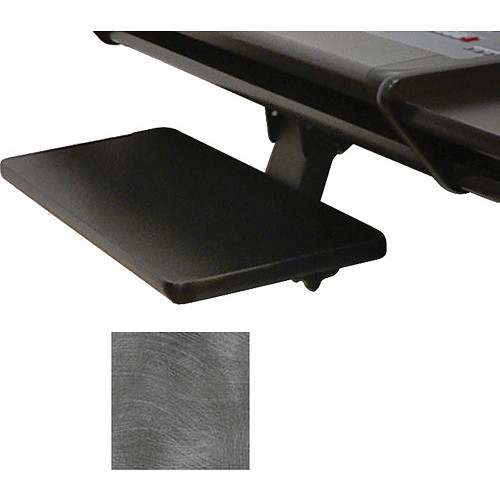 Omnirax Adjustable Computer Keyboard / Mouse Shelf For Dual Table (Pewter Brush)