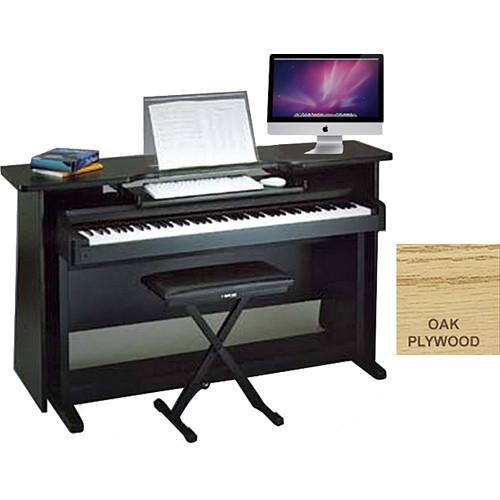 Omnirax Classroom Surround For Digital Piano With Music Stand+Computer Keyboard Shelf (Oak Plywood)
