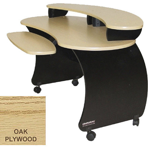 Omnirax Compact Audio Video Desk With Riser (Oak Plywood)