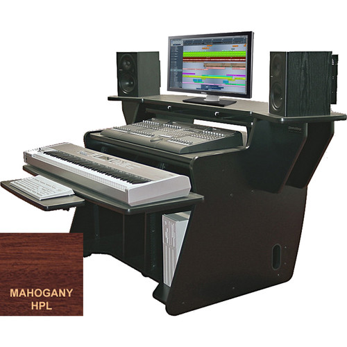 Omnirax NT2 Keyboard Composing / Mixing Workstation with Sliding Monitor Bridge (Mahogany Formica)