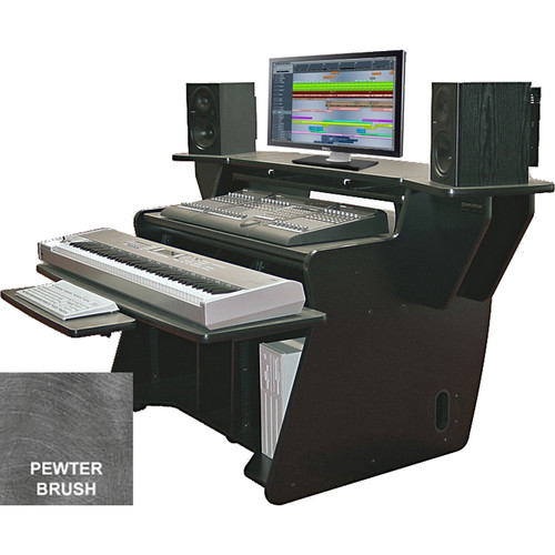 Omnirax NT2 Keyboard Composing / Mixing Workstation with Sliding Monitor Bridge (Pewter Brush Formica)