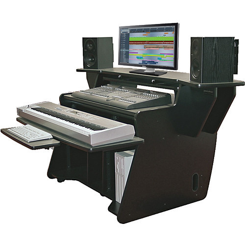 Omnirax Keyboard Composing/Mixing Workstation with Sliding Monitor Bridge (Black)