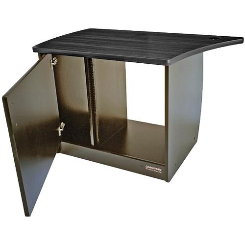 Omnirax OM13DL 13-Space Rack Cabinet with Door for Left Side of OmniDesk (Black Melamine)