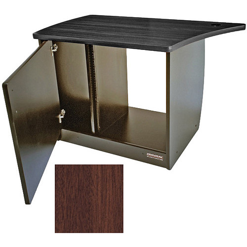 Omnirax 13 Space Rack Cabinet with Door for Left Side of Omnidesk (Mahogany)