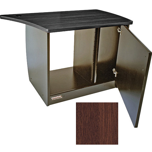 Omnirax 13 Space Rack Cabinet with Door for Right Side of Omnidesk (Mahogany)