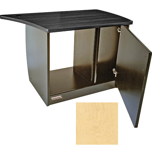 Omnirax 13 Space Rack Cabinet with Door for Right Side of Omnidesk (Maple)