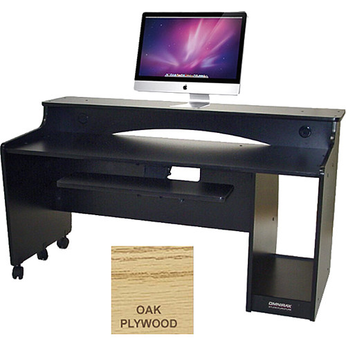 Omnirax Compact Classroom Workstation for Keyboard with Cubby for CPU (Oak Plywood)