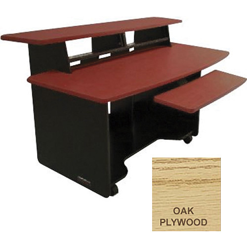 Omnirax Audio/Video Composing Workstation with Two 2-Space Rack Bays(Oak Plywood)