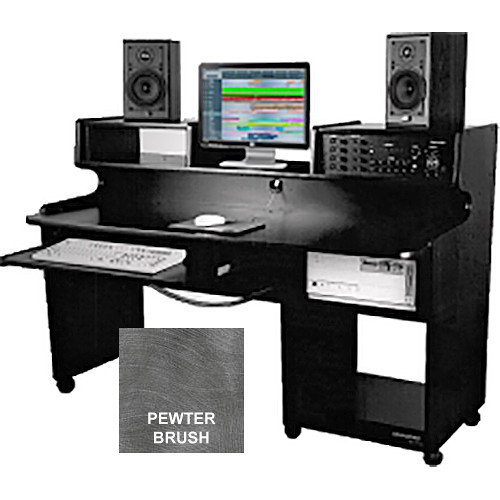 Omnirax ProStation Junior Audio / Video Editing Workstation (Pewter Brush Formica)