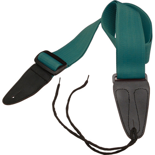 "On-Stage Guitar Strap with Leather Ends (31 to 52"", Green)"