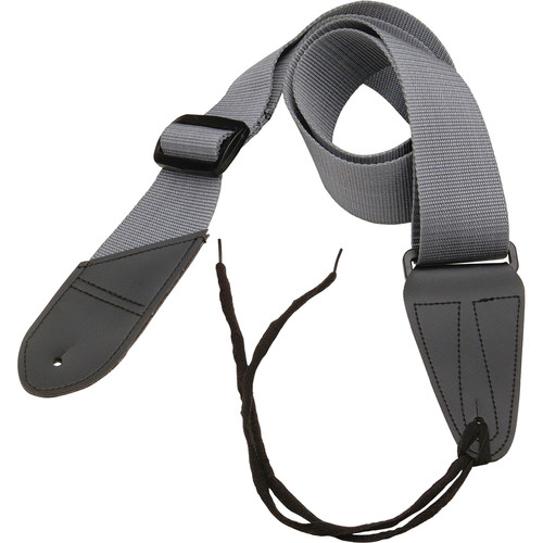 "On-Stage Guitar Strap with Leather Ends (31 to 52"", Gray)"