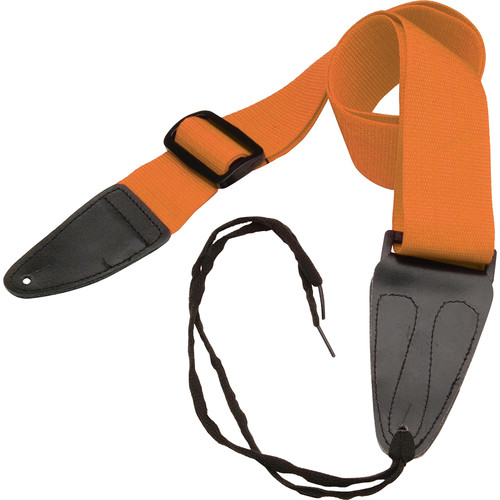 """On-Stage GSA10OR Guitar Strap with Leather Ends (31 to 52"""", Orange)"""