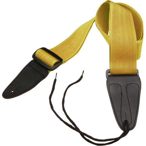 "On-Stage GSA10YW Guitar Strap with Leather Ends (31 to 52"", Yellow)"