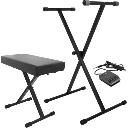On-Stage Keyboard Stand and Bench Pack with Keyboard Sustain Pedal
