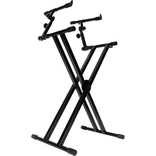 On-Stage KS7292 Double-X Ergo Lok Keyboard Stand with Second Tier