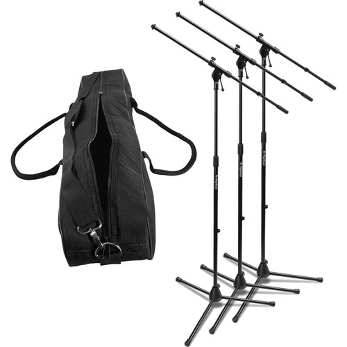 On-Stage MS7701B Euroboom Microphone Stand with Bag (3 Stands)