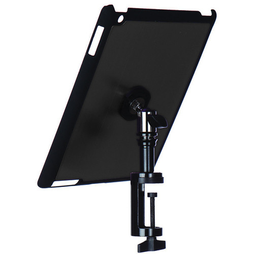 On-Stage Quick Disconnect Table Edge Tablet Mounting System with Snap-On Cover for iPad 2 and 3 (Gun Metal)