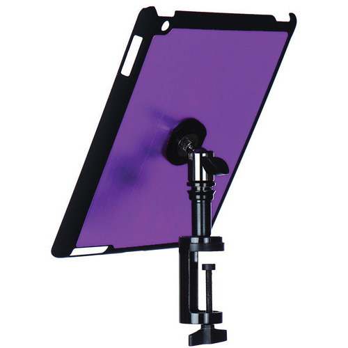 On-Stage Quick Disconnect Table Edge Tablet Mounting System with Snap-On Cover for iPad 2 and 3 (Purple)