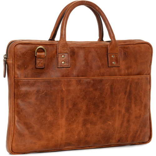 "ONA The Leather Kingston 15"" Laptop Briefcase(Antique Cognac)"