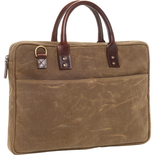 "ONA The Kingston 15"" Laptop Briefcase Waxed Cotton with Leather Accents (Field Tan)"