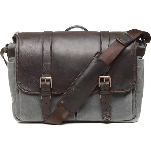 ONA 50/50Brixton Camera/Laptop Messenger Bag (Leather/Canvas, Smoke/Dark Truffle)