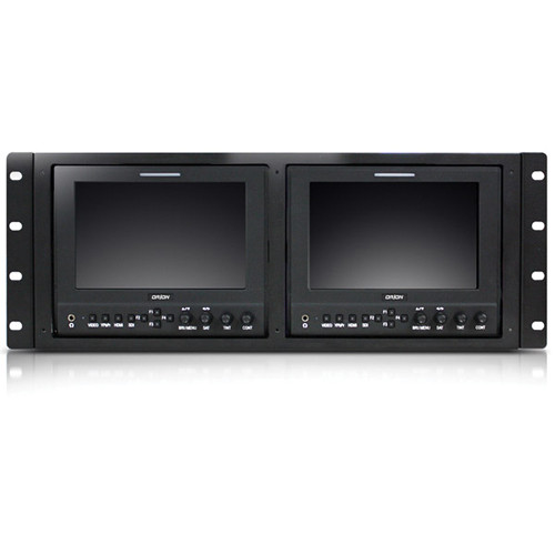 "Orion Images Dual VF703GHC 7"" LED Viewfinder/Field Monitors with RMK-02 4U Rack Mount Kit (Black)"