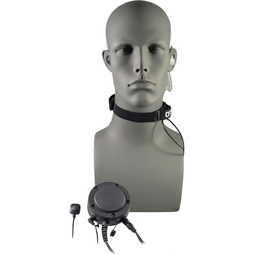 Otto Engineering Tactical Throat Microphone, with Acoustic Tube + 80mm PTT + Remote Ring PTT/MF