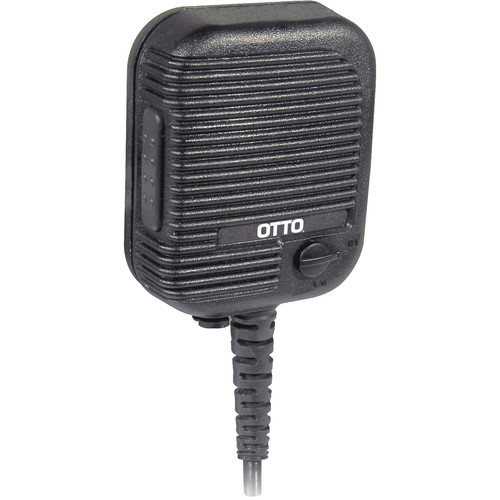 Otto Engineering Evolution Speaker Mic with Coiled Coaxial Cord, Volume Control, 2.5mm Earphone Jack, Antenna Connector, and Emergency Button (Harris, EJ Connector)