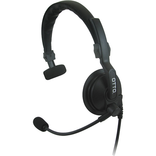 Otto Engineering Lightweight Over-the-Head Headset with Padded Headband, 1-Speaker,Standard PTT+2-Prong R/A Connector
