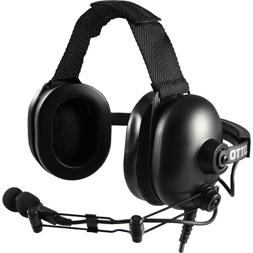 Otto Engineering Heavy-Duty Behind-the-Head Dual-Speaker Standard PTT Headset with CA 2.5mm/3.5mm Right Angle Connector for Icom Radios