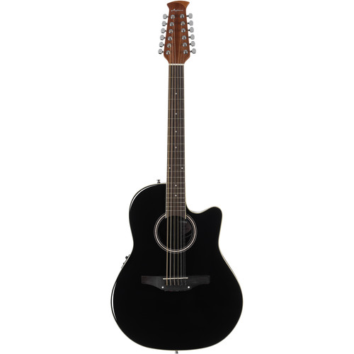 Ovation Applause Balladeer AB2412 12-String Acoustic/Electric Guitar (Black)