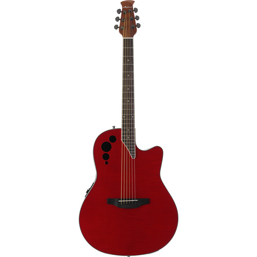 Ovation Applause Elite AE44IIP Acoustic/Electric Guitar (Transparent Cherry Flame)