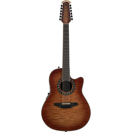 Ovation ExoticWoods Collection Legend 12-String Deep Acoustic/Electric Guitar (Honey Burst on Exotic Quilted Maple)