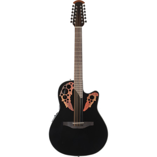 Ovation CE4412-5 Celebrity Elite Series 12-String Acoustic/Electric Guitar (Black)