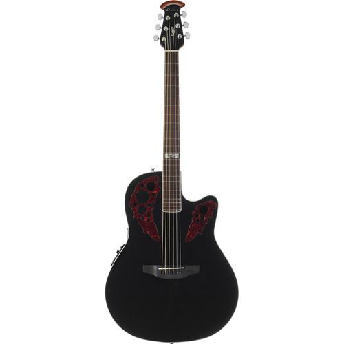 Ovation CE44-5KC Kevin Cronin Signature Celebrity Elite Series Acoustic/Electric Mid-Depth Guitar (Black)