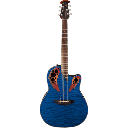 Ovation Celebrity Elite Plus Series CE44P Mid-Depth Acoustic/Electric Guitar (Quilted Maple Veneer Top, Trans-Blue)