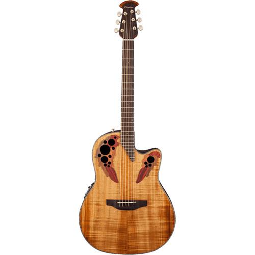 Ovation Celebrity Elite Plus Series CE44P Mid-Depth Acoustic/Electric Guitar (Figured Koa Top, Natural)